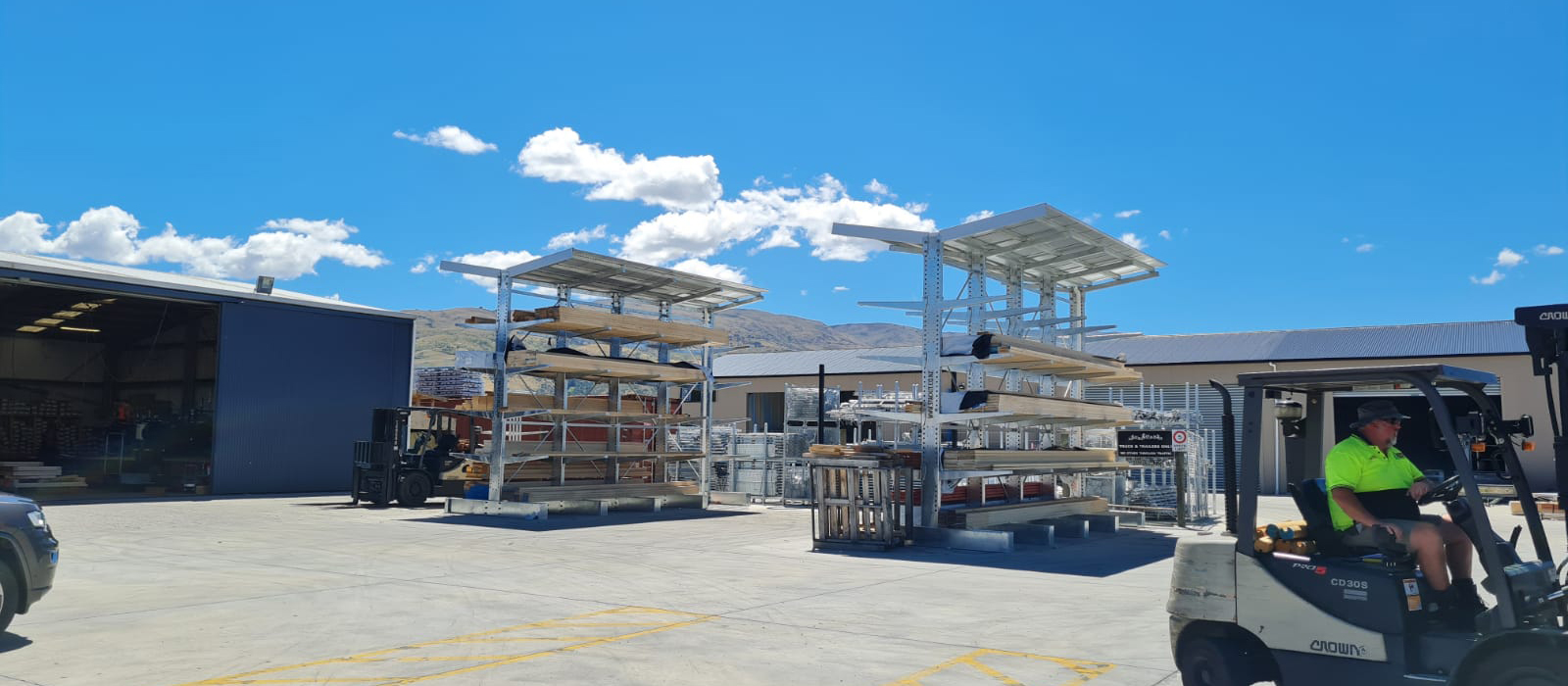 TrussTech Cromwell Cantilever Racking with Roof. iRS Intergrated Roof Structure. Timber Dry Storage