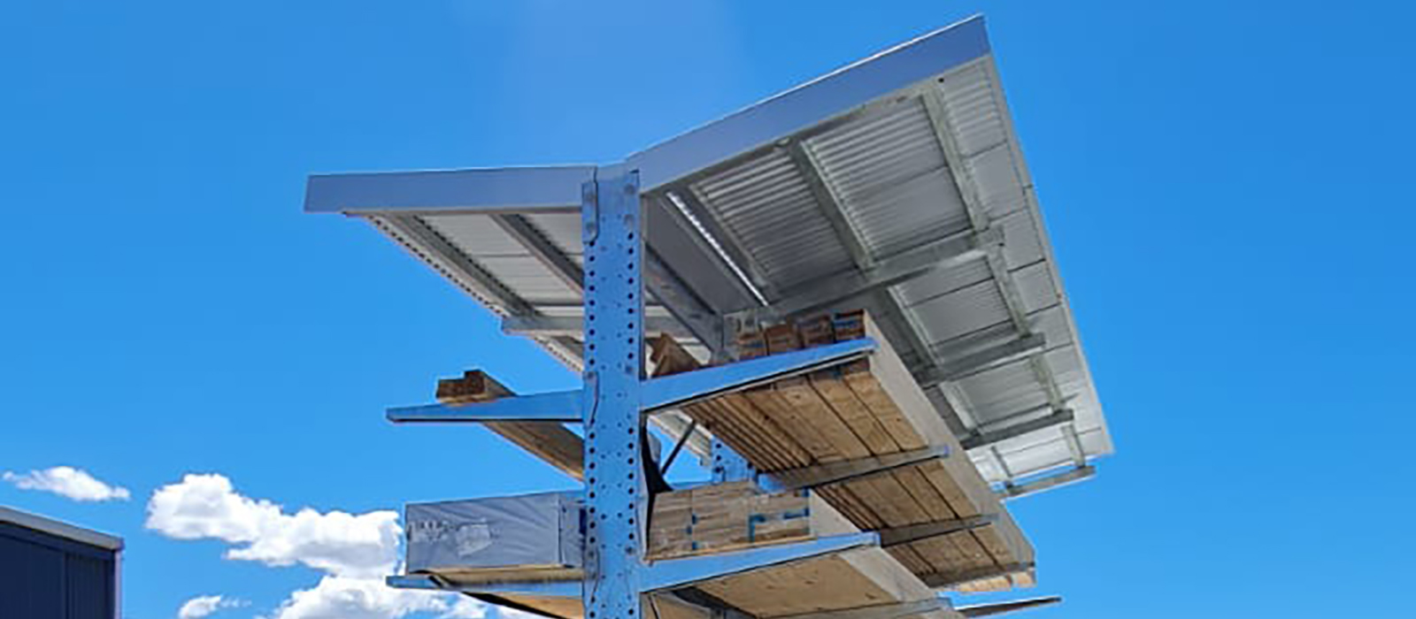 TrussTech Cromwell Cantilever Racking with Roof. iRS Intergrated Roof Structure, Timber Dry Storage
