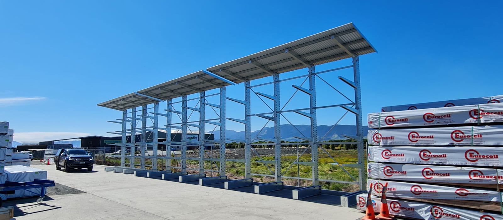 Nelson ITM Cantilever Racking with Roof Structure